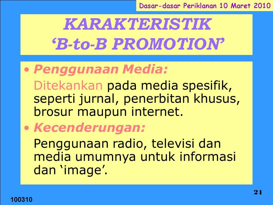 KARAKTERISTIK 'B-to-B PROMOTION'