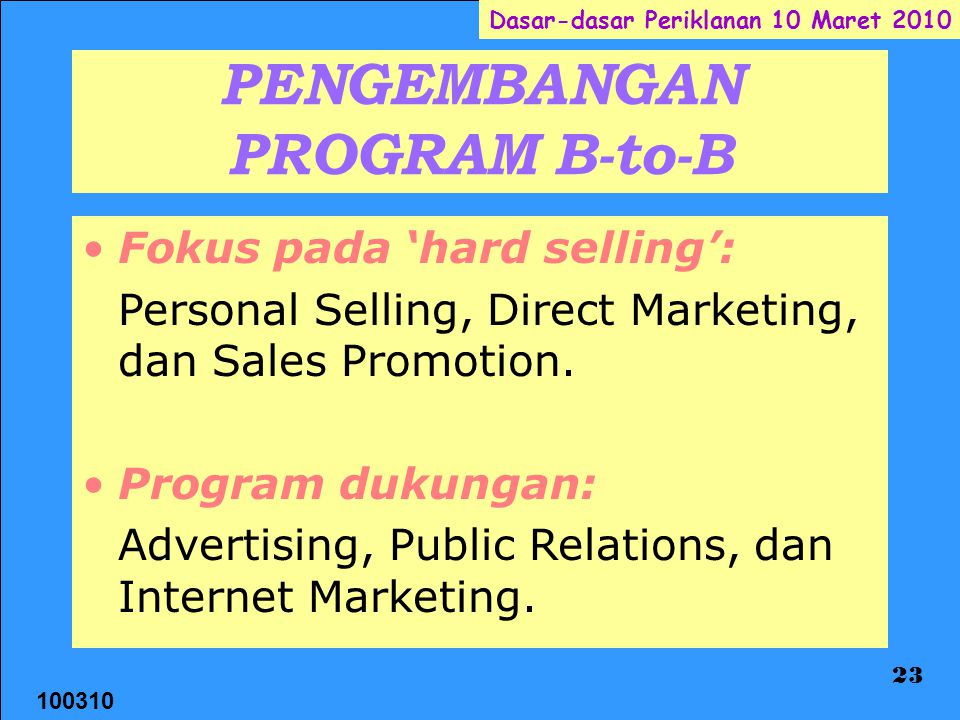 PENGEMBANGAN PROGRAM B-to-B