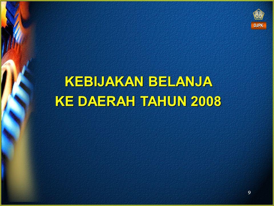 KEBIJAKAN BELANJA KE DAERAH TAHUN 2008