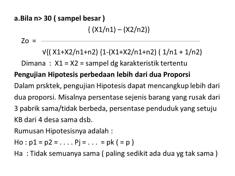 a.Bila n> 30 ( sampel besar ) { (X1/n1) – (X2/n2)} Zo = √{( X1+X2/n1+n2) {1-(X1+X2/n1+n2) ( 1/n1 + 1/n2) Dimana : X1 = X2 = sampel dg karakteristik tertentu Pengujian Hipotesis perbedaan lebih dari dua Proporsi Dalam prsktek, pengujian Hipotesis dapat mencangkup lebih dari dua proporsi.