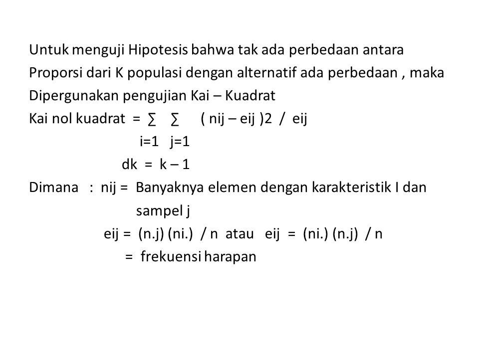 Untuk menguji Hipotesis bahwa tak ada perbedaan antara Proporsi dari K populasi dengan alternatif ada perbedaan , maka Dipergunakan pengujian Kai – Kuadrat Kai nol kuadrat = ∑ ∑ ( nij – eij )2 / eij i=1 j=1 dk = k – 1 Dimana : nij = Banyaknya elemen dengan karakteristik I dan sampel j eij = (n.j) (ni.) / n atau eij = (ni.) (n.j) / n = frekuensi harapan