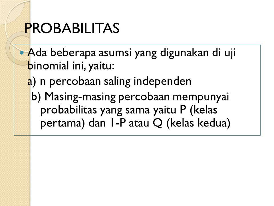 PROBABILITAS Ada beberapa asumsi yang digunakan di uji binomial ini, yaitu: a) n percobaan saling independen.