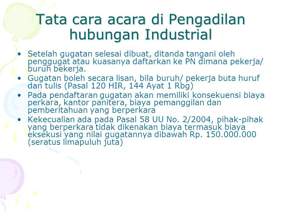 Tata cara acara di Pengadilan hubungan Industrial