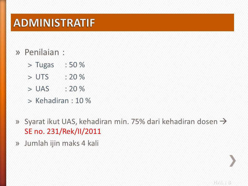 ADMINISTRATIF Penilaian : Tugas : 50 % UTS : 20 % UAS : 20 %