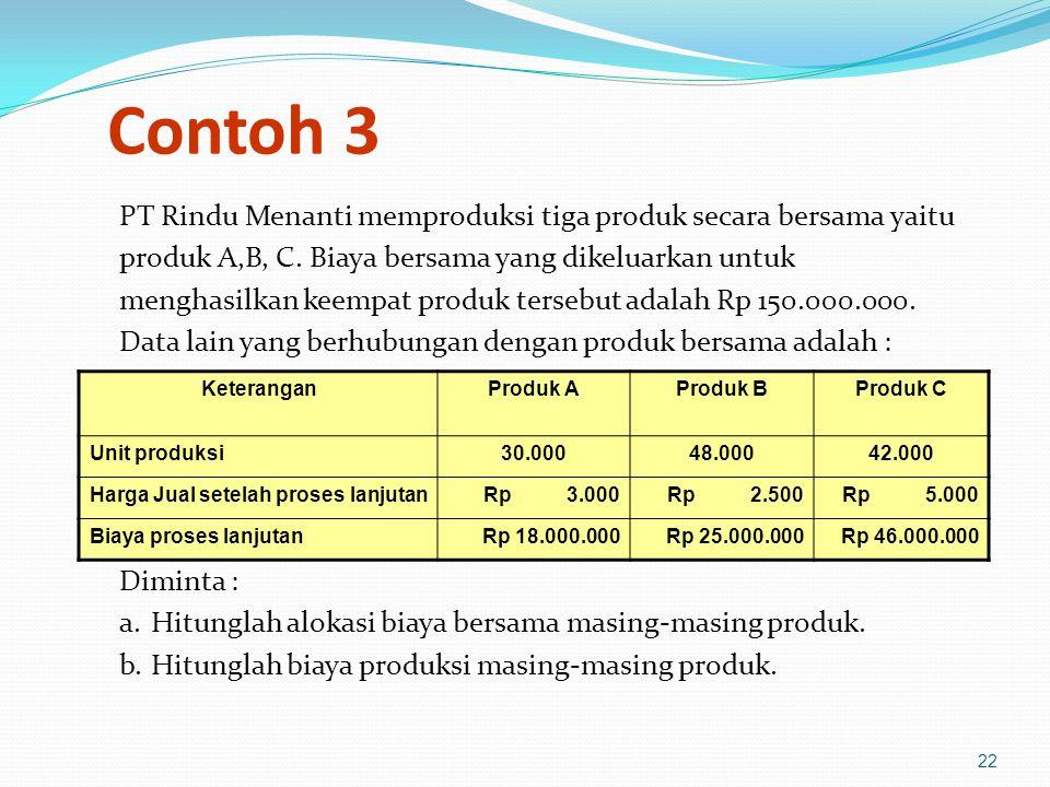 Contoh 3 PT Rindu Menanti memproduksi tiga produk secara bersama yaitu