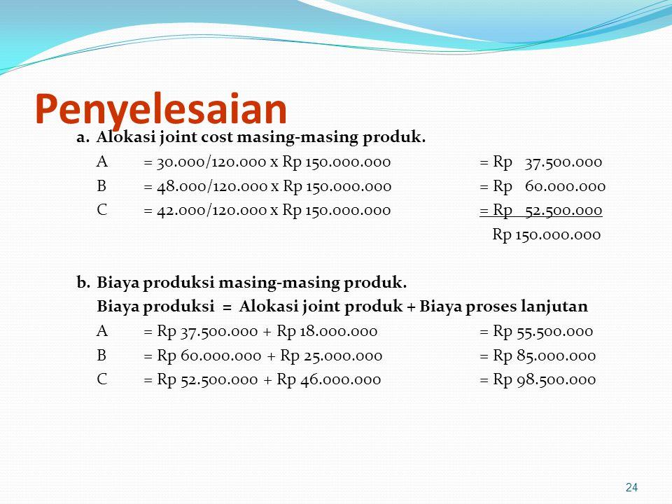 Penyelesaian a. Alokasi joint cost masing-masing produk.