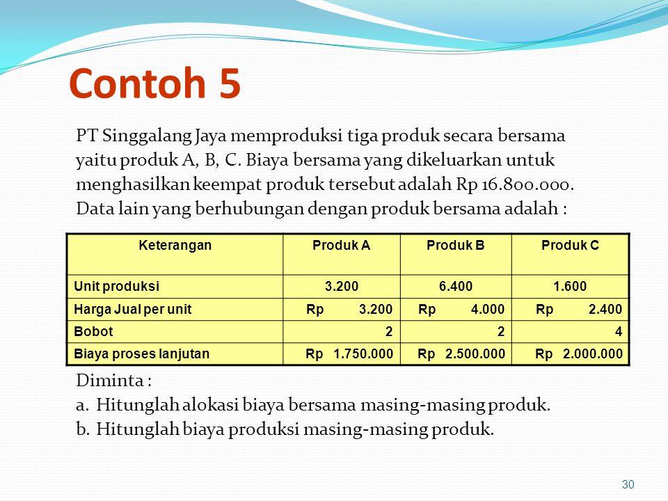Contoh 5 PT Singgalang Jaya memproduksi tiga produk secara bersama