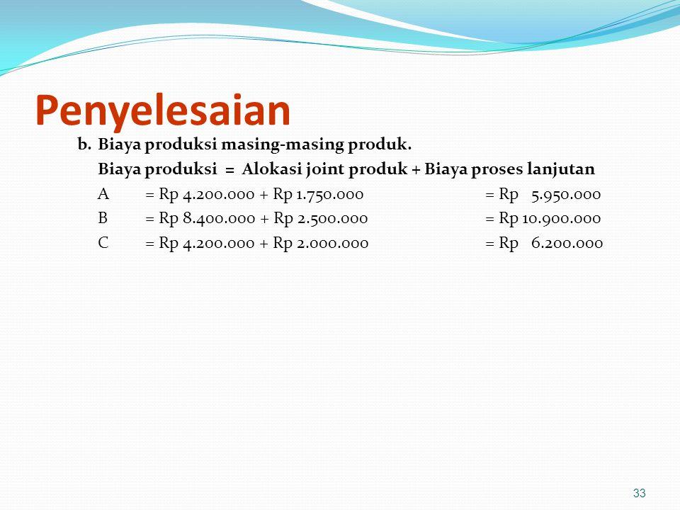Penyelesaian b. Biaya produksi masing-masing produk.