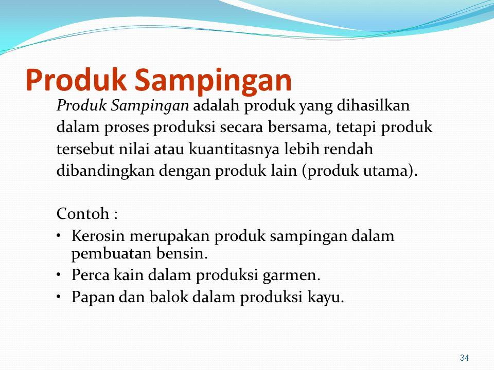 Produk Sampingan Produk Sampingan adalah produk yang dihasilkan