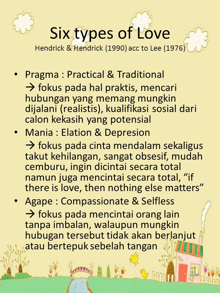Six types of Love Hendrick & Hendrick (1990) acc to Lee (1976)