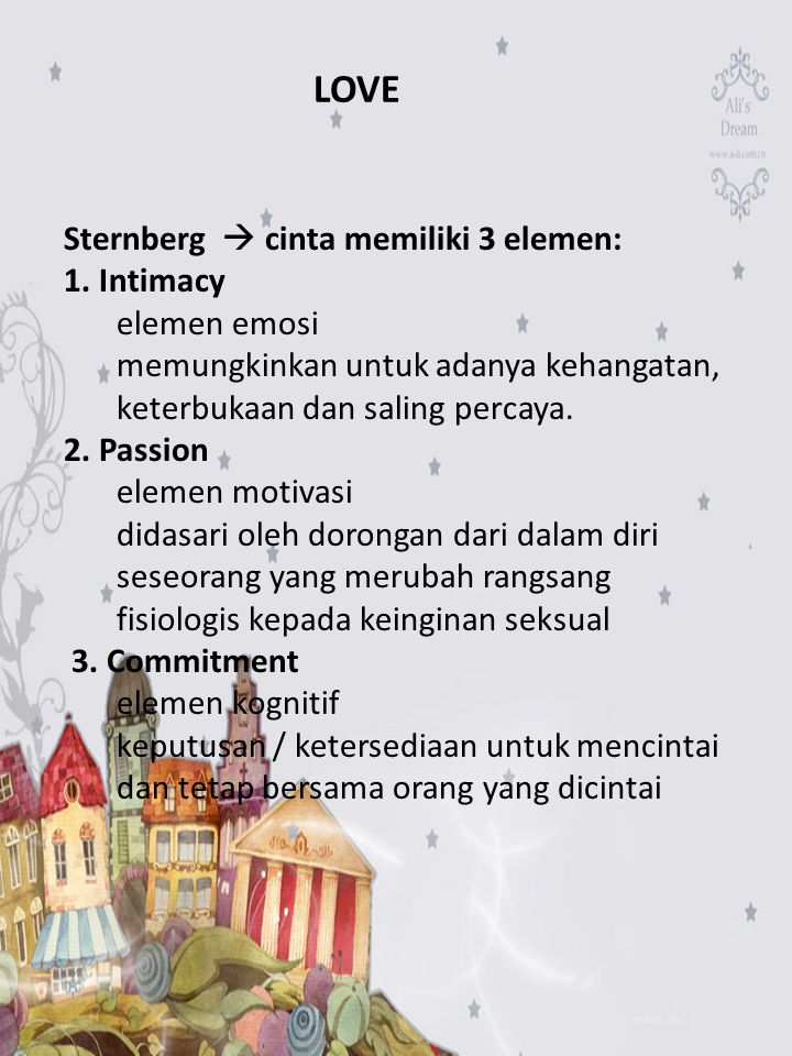 LOVE Sternberg  cinta memiliki 3 elemen: 1. Intimacy elemen emosi