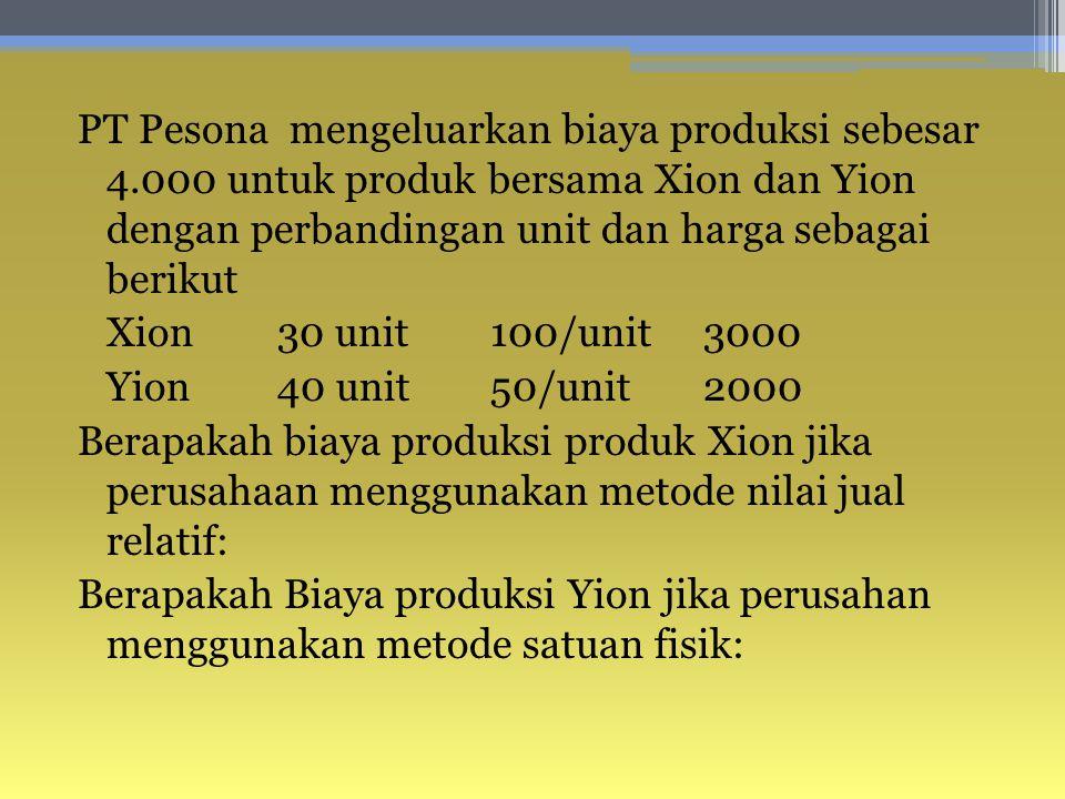 PT Pesona mengeluarkan biaya produksi sebesar 4