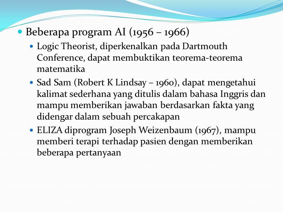 Beberapa program AI (1956 – 1966)