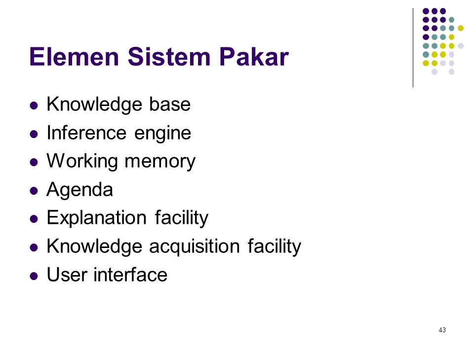 Elemen Sistem Pakar Knowledge base Inference engine Working memory