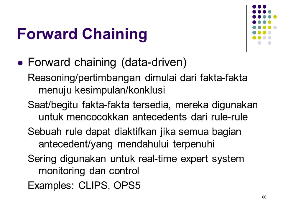 Forward Chaining Forward chaining (data-driven)