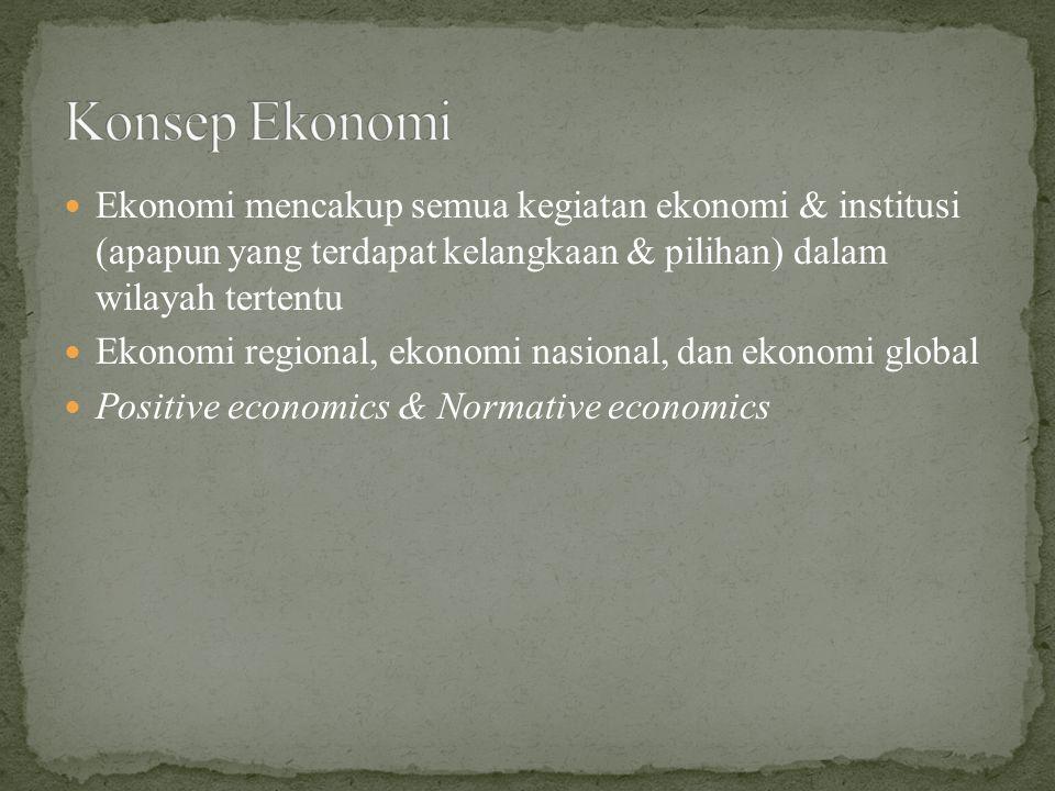 Konsep Ekonomi Ekonomi mencakup semua kegiatan ekonomi & institusi (apapun yang terdapat kelangkaan & pilihan) dalam wilayah tertentu.