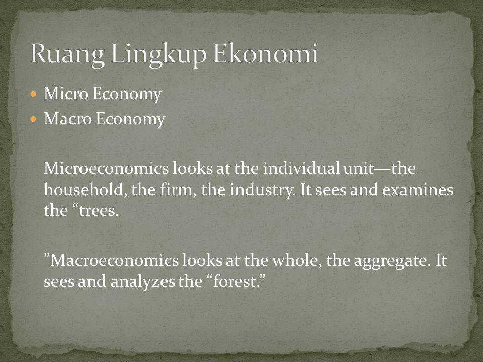 Ruang Lingkup Ekonomi Micro Economy Macro Economy
