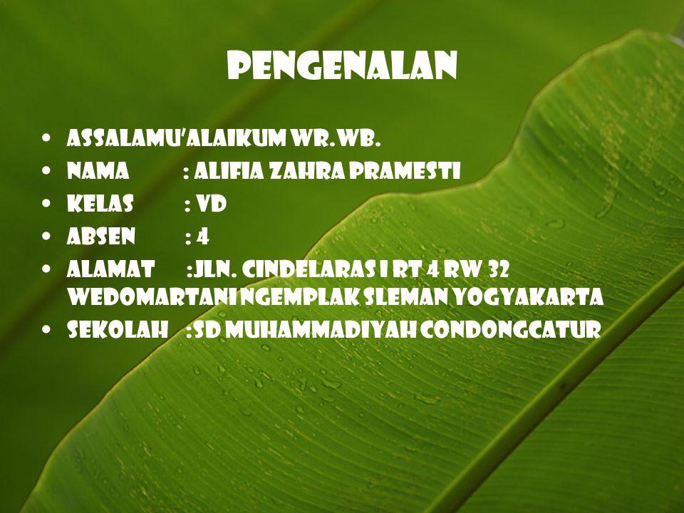 Pengenalan Assalamu'alaikum wr.wb. Nama : Alifia Zahra Pramesti