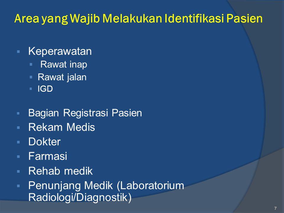 Area yang Wajib Melakukan Identifikasi Pasien