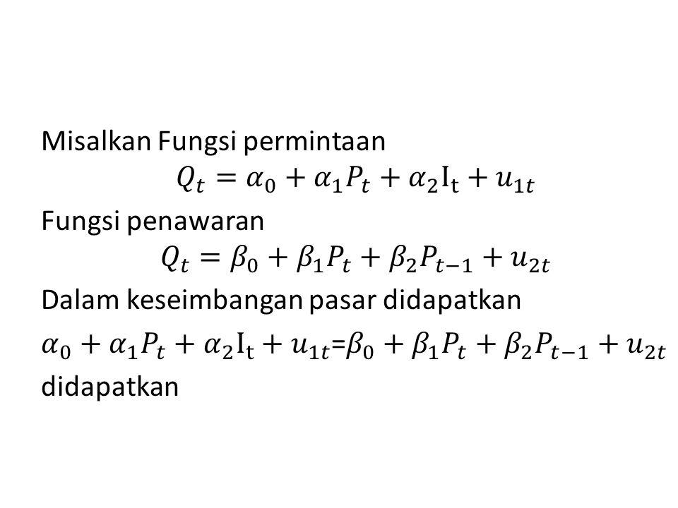 Misalkan Fungsi permintaan 𝑄 𝑡 = 𝛼 0 + 𝛼 1 𝑃 𝑡 + 𝛼 2 I t + 𝑢 1𝑡 Fungsi penawaran 𝑄 𝑡 = 𝛽 0 + 𝛽 1 𝑃 𝑡 + 𝛽 2 𝑃 𝑡−1 +𝑢 2𝑡 Dalam keseimbangan pasar didapatkan 𝛼 0 + 𝛼 1 𝑃 𝑡 + 𝛼 2 I t + 𝑢 1𝑡 = 𝛽 0 + 𝛽 1 𝑃 𝑡 + 𝛽 2 𝑃 𝑡−1 +𝑢 2𝑡 didapatkan
