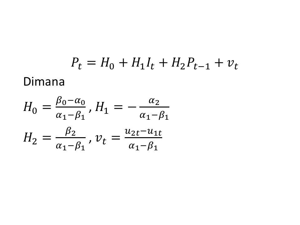 𝑃 𝑡 = 𝐻 0 + 𝐻 1 𝐼 𝑡 + 𝐻 2 𝑃 𝑡−1 + 𝑣 𝑡 Dimana 𝐻 0 = 𝛽 0 − 𝛼 0 𝛼 1 − 𝛽 1 , 𝐻 1 =− 𝛼 2 𝛼 1 − 𝛽 1 𝐻 2 = 𝛽 2 𝛼 1 − 𝛽 1 , 𝑣 𝑡 = 𝑢 2𝑡 − 𝑢 1𝑡 𝛼 1 − 𝛽 1