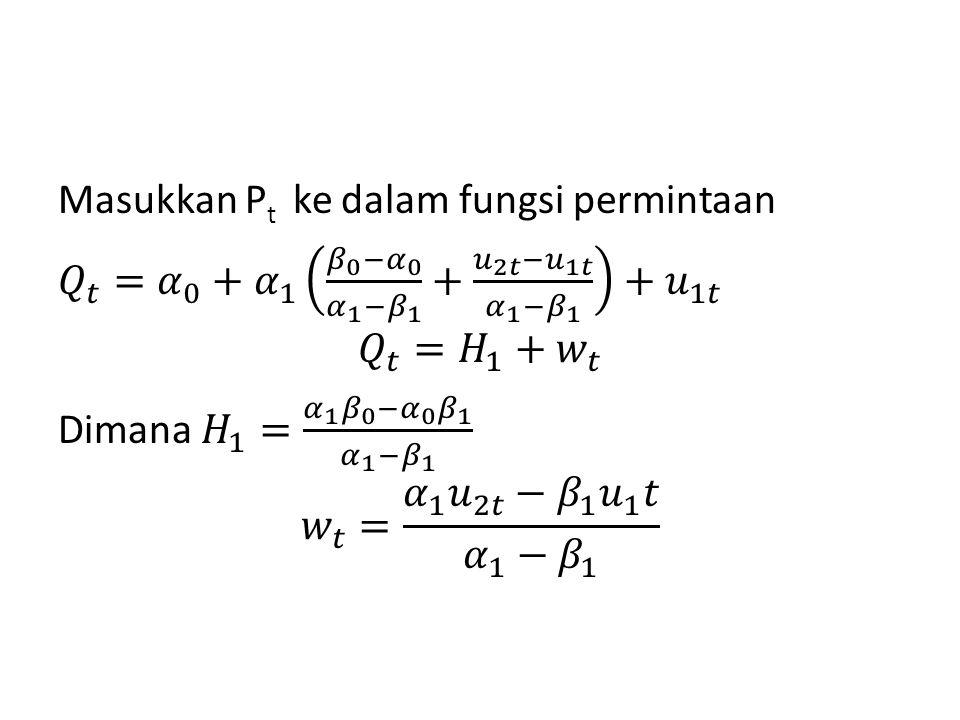 Masukkan Pt ke dalam fungsi permintaan 𝑄 𝑡 = 𝛼 0 + 𝛼 1 𝛽 0 − 𝛼 0 𝛼 1 − 𝛽 1 + 𝑢 2𝑡 − 𝑢 1𝑡 𝛼 1 − 𝛽 1 + 𝑢 1𝑡 𝑄 𝑡 = 𝐻 1 + 𝑤 𝑡 Dimana 𝐻 1 = 𝛼 1 𝛽 0 − 𝛼 0 𝛽 1 𝛼 1 − 𝛽 1 𝑤 𝑡 = 𝛼 1 𝑢 2𝑡 − 𝛽 1 𝑢 1 𝑡 𝛼 1 − 𝛽 1