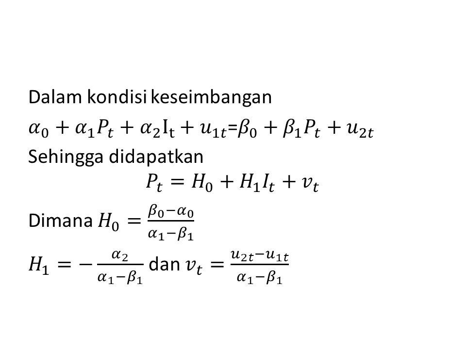 Dalam kondisi keseimbangan 𝛼 0 + 𝛼 1 𝑃 𝑡 + 𝛼 2 I t + 𝑢 1𝑡 = 𝛽 0 + 𝛽 1 𝑃 𝑡 + 𝑢 2𝑡 Sehingga didapatkan 𝑃 𝑡 = 𝐻 0 + 𝐻 1 𝐼 𝑡 + 𝑣 𝑡 Dimana 𝐻 0 = 𝛽 0 − 𝛼 0 𝛼 1 − 𝛽 1 𝐻 1 =− 𝛼 2 𝛼 1 − 𝛽 1 dan 𝑣 𝑡 = 𝑢 2𝑡 − 𝑢 1𝑡 𝛼 1 − 𝛽 1