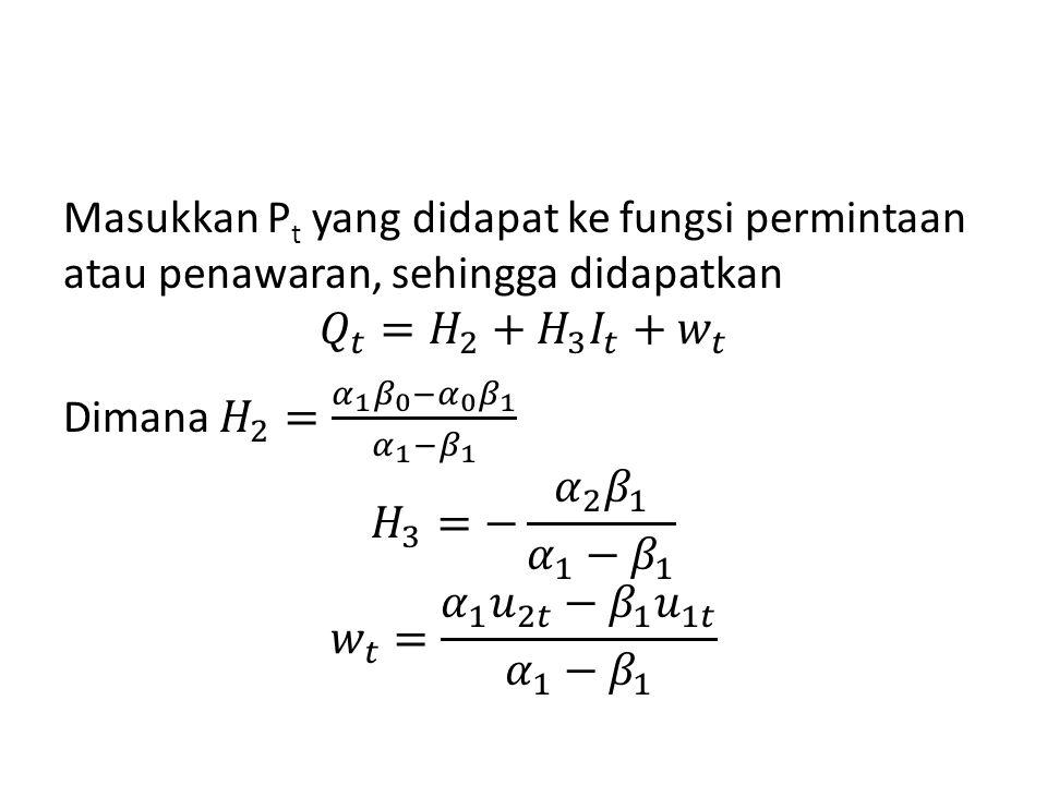 Masukkan Pt yang didapat ke fungsi permintaan atau penawaran, sehingga didapatkan 𝑄 𝑡 = 𝐻 2 + 𝐻 3 𝐼 𝑡 + 𝑤 𝑡 Dimana 𝐻 2 = 𝛼 1 𝛽 0 − 𝛼 0 𝛽 1 𝛼 1 − 𝛽 1 𝐻 3 =− 𝛼 2 𝛽 1 𝛼 1 − 𝛽 1 𝑤 𝑡 = 𝛼 1 𝑢 2𝑡 − 𝛽 1 𝑢 1𝑡 𝛼 1 − 𝛽 1