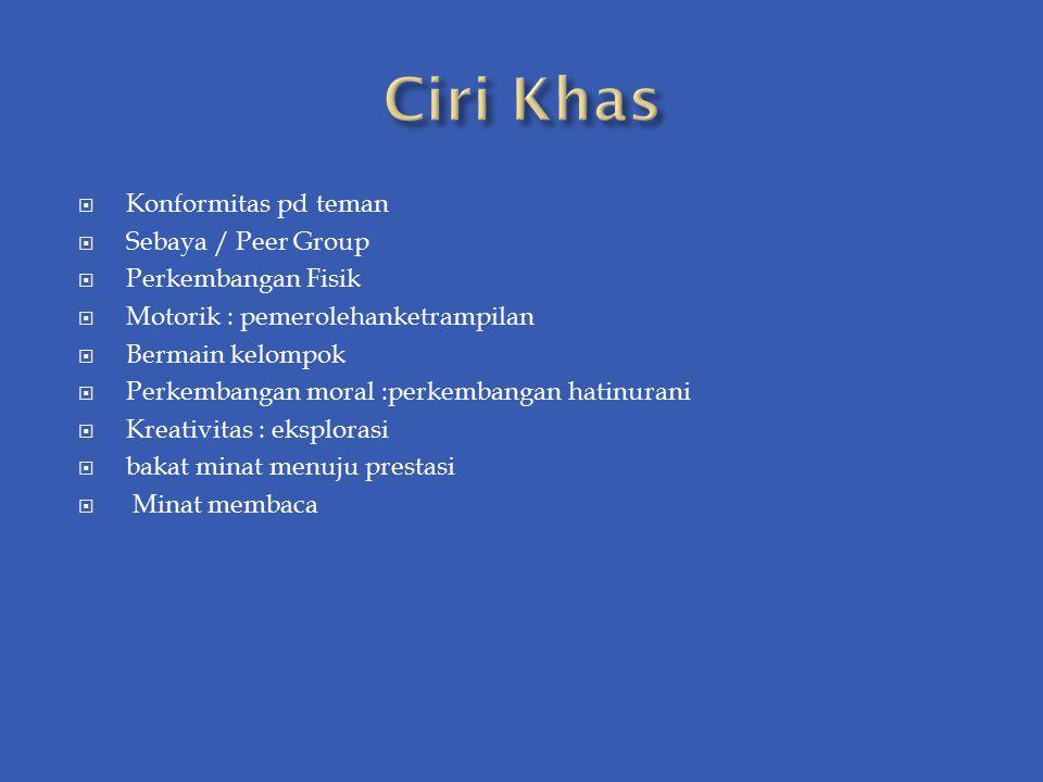 Ciri Khas Konformitas pd teman Sebaya / Peer Group Perkembangan Fisik
