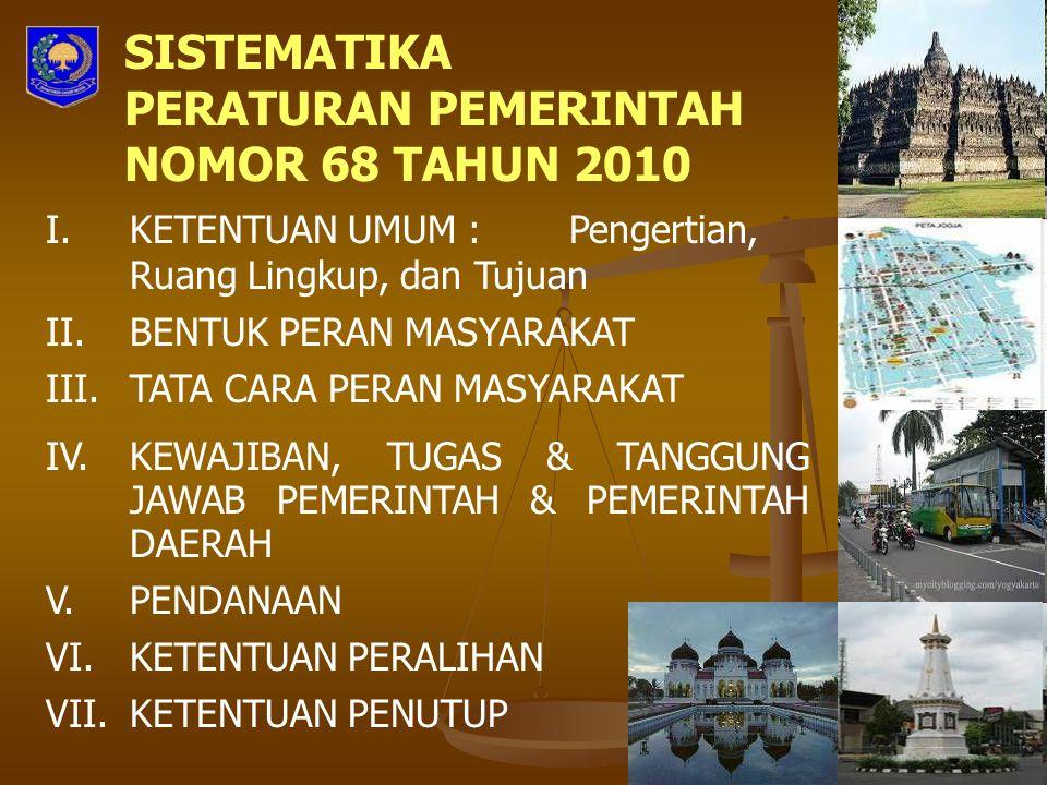 SISTEMATIKA PERATURAN PEMERINTAH NOMOR 68 TAHUN 2010