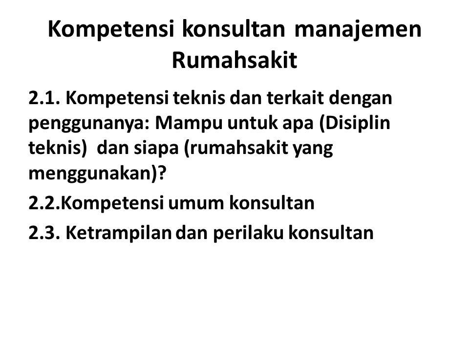 Kompetensi konsultan manajemen Rumahsakit