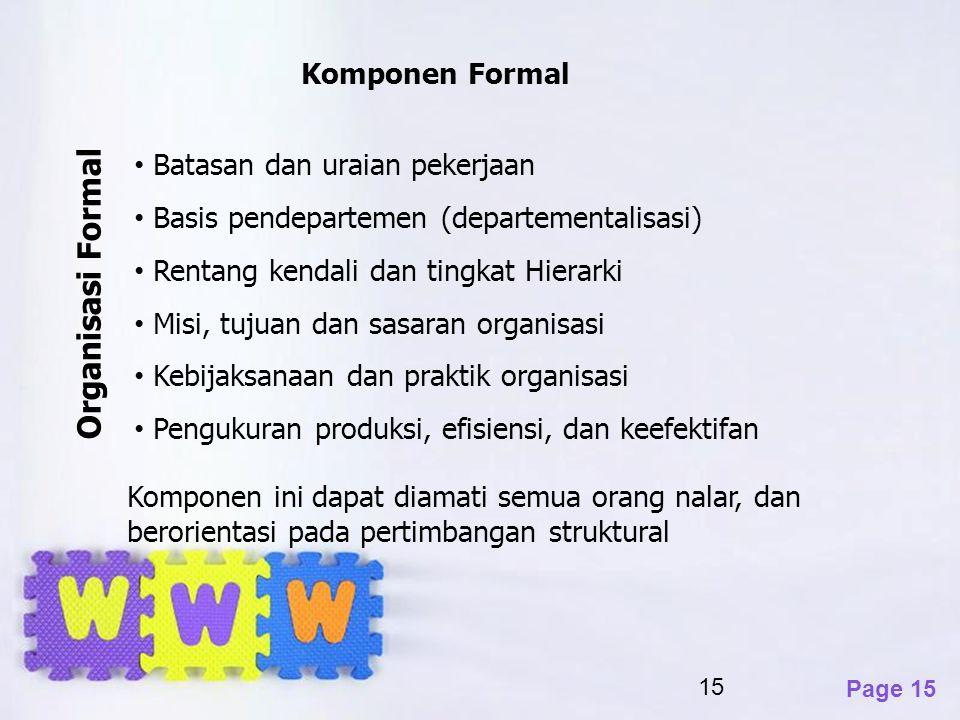 Organisasi Formal Komponen Formal Batasan dan uraian pekerjaan