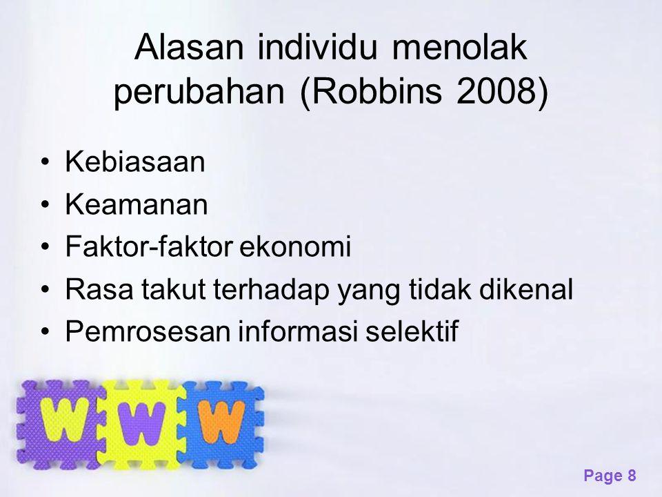 Alasan individu menolak perubahan (Robbins 2008)