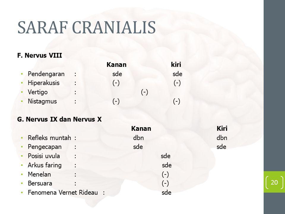 SARAF CRANIALIS F. Nervus VIII Kanan kiri Pendengaran : sde sde