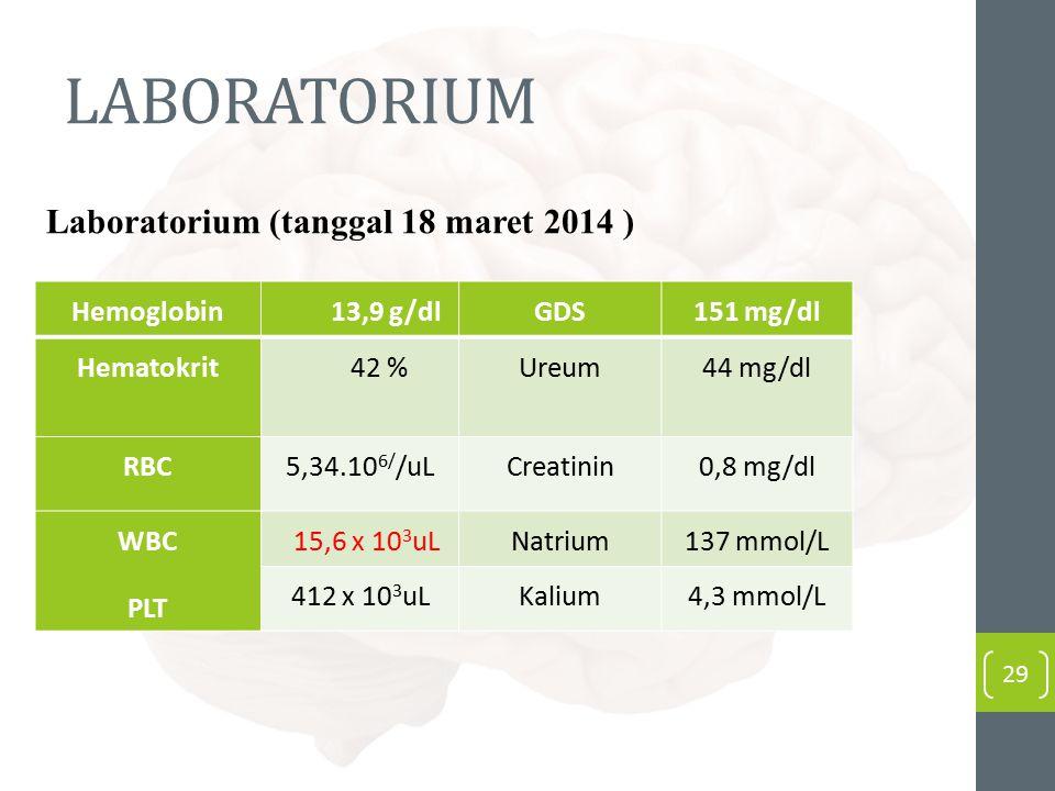 LABORATORIUM Laboratorium (tanggal 18 maret 2014 ) Hemoglobin