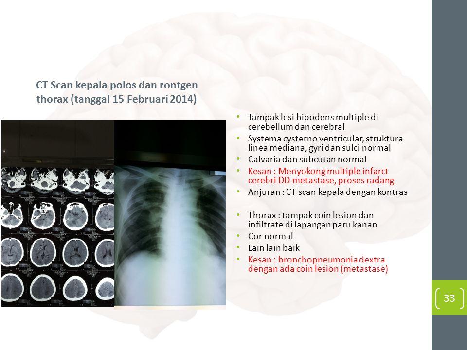 CT Scan kepala polos dan rontgen thorax (tanggal 15 Februari 2014)