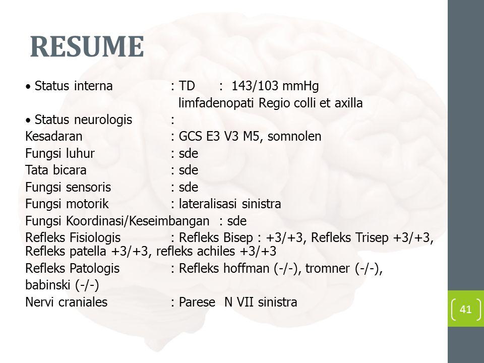 RESUME • Status interna : TD : 143/103 mmHg