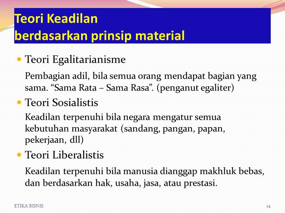 Teori Keadilan berdasarkan prinsip material