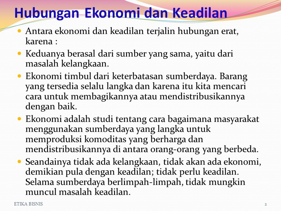 Hubungan Ekonomi dan Keadilan