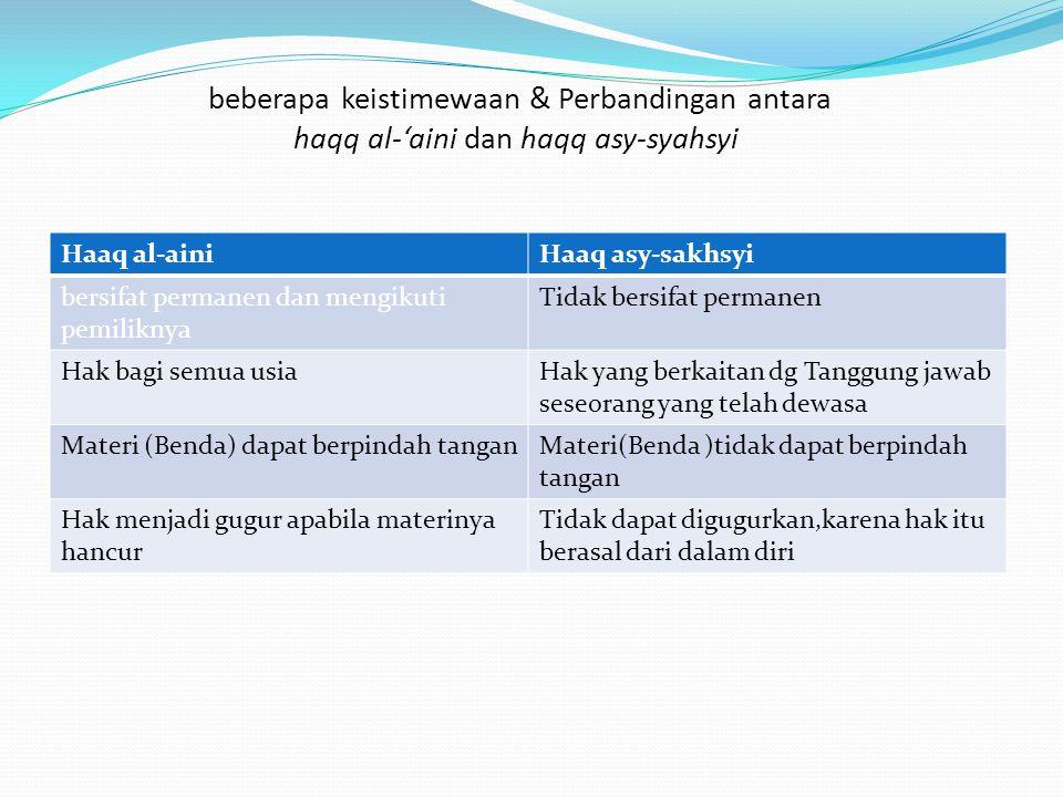 beberapa keistimewaan & Perbandingan antara haqq al-'aini dan haqq asy-syahsyi: