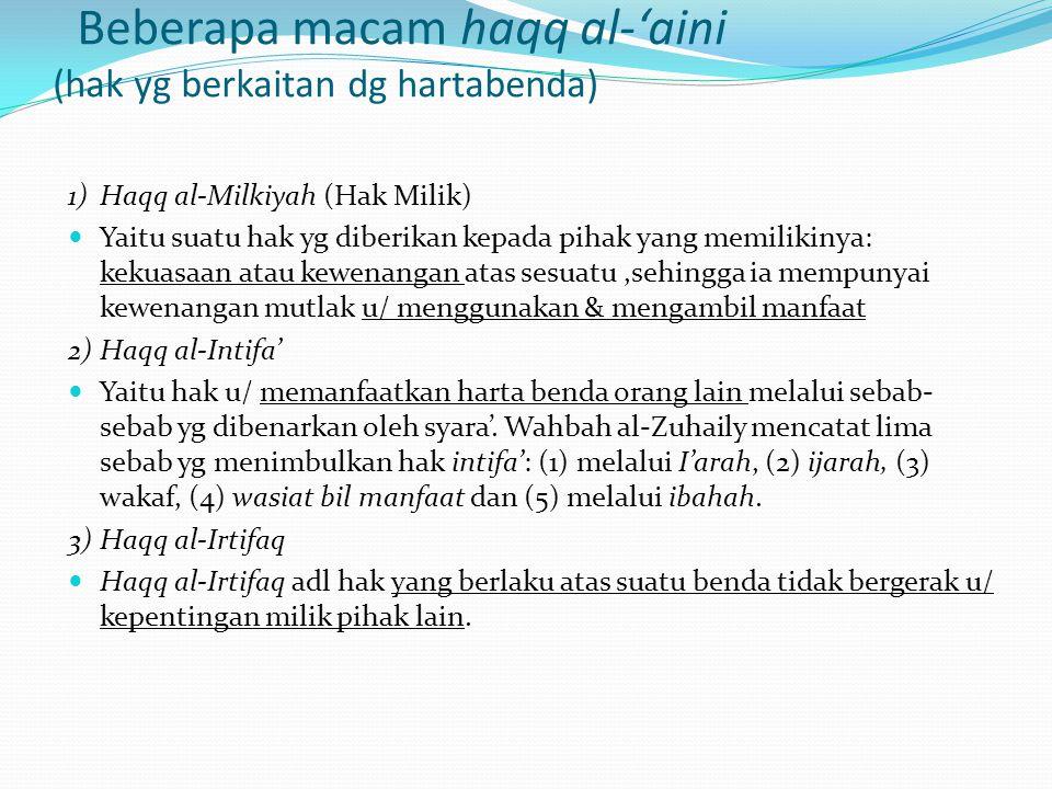 Beberapa macam haqq al-'aini (hak yg berkaitan dg hartabenda)