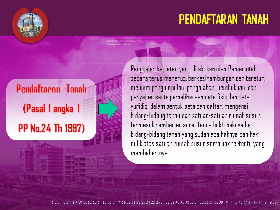 PENDAFTARAN TANAH Pendaftaran Tanah (Pasal 1 angka 1 PP No.24 Th 1997)