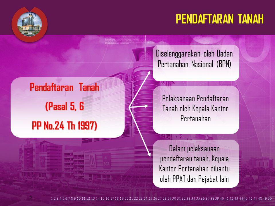 PENDAFTARAN TANAH Pendaftaran Tanah (Pasal 5, 6 PP No.24 Th 1997)