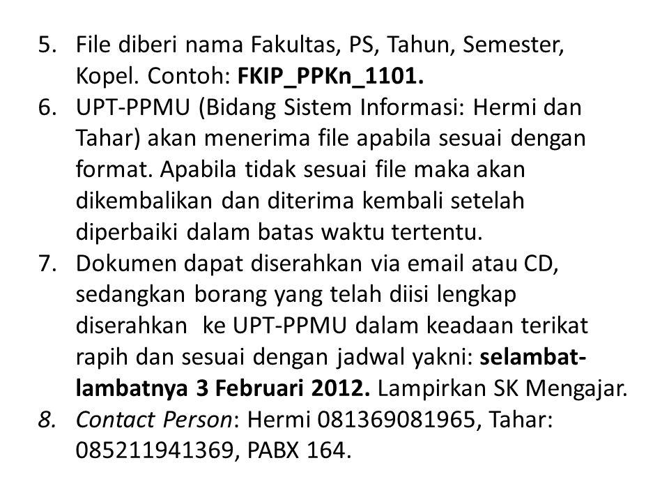 File diberi nama Fakultas, PS, Tahun, Semester, Kopel