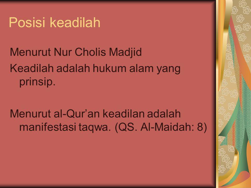 Posisi keadilah Menurut Nur Cholis Madjid