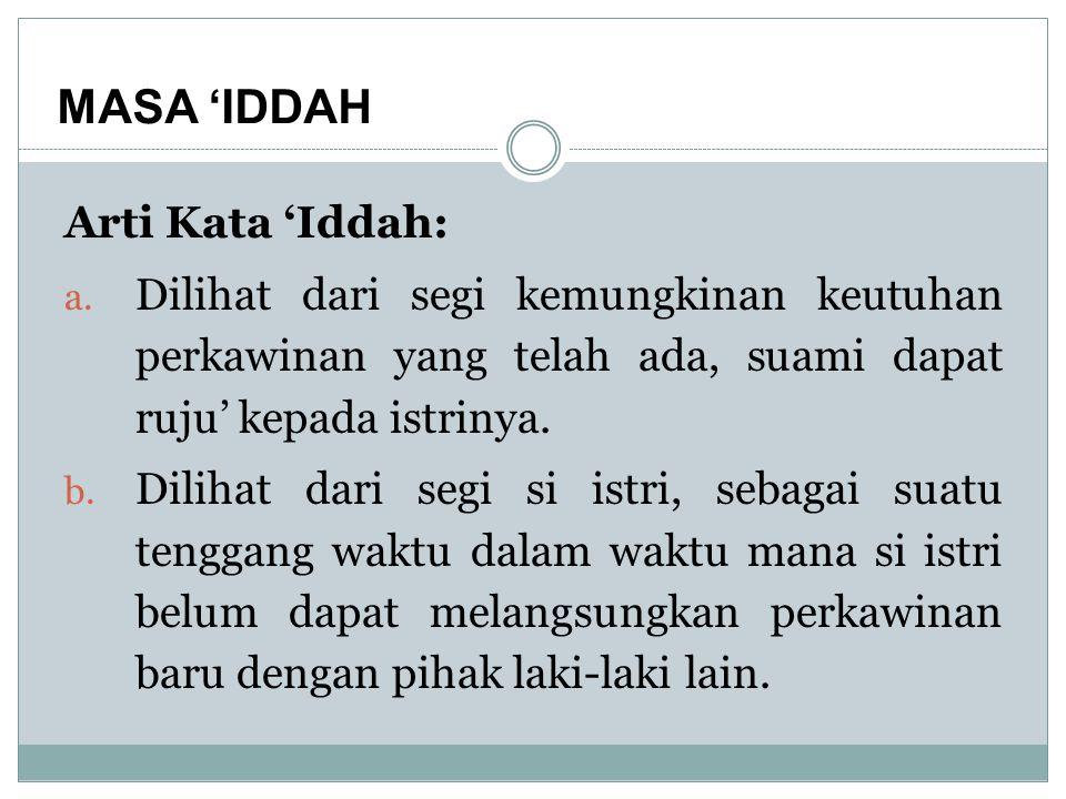 MASA 'IDDAH Arti Kata 'Iddah: