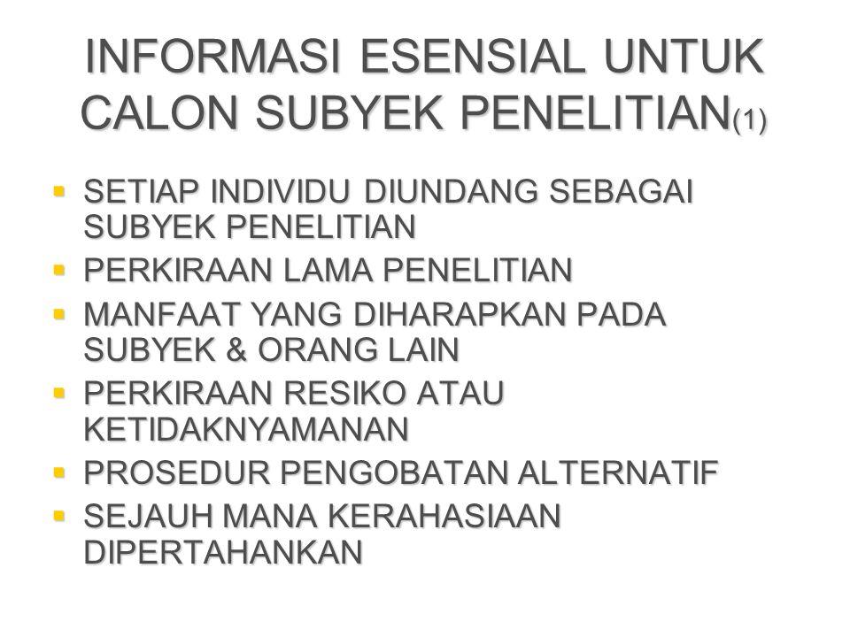 INFORMASI ESENSIAL UNTUK CALON SUBYEK PENELITIAN(1)