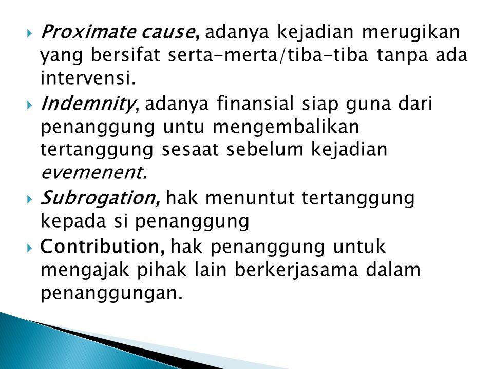 Proximate cause, adanya kejadian merugikan yang bersifat serta-merta/tiba-tiba tanpa ada intervensi.