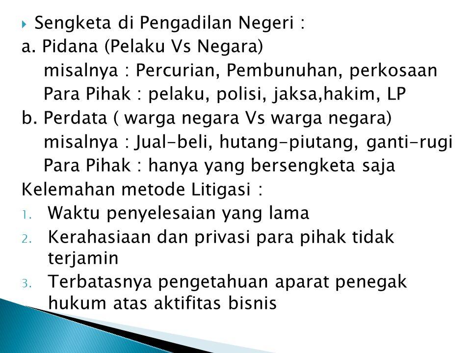 Sengketa di Pengadilan Negeri :