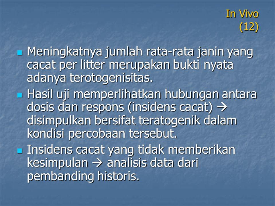 In Vivo (12) Meningkatnya jumlah rata-rata janin yang cacat per litter merupakan bukti nyata adanya terotogenisitas.